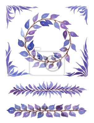 Akwarela zbiór dekoracyjny, różne elementy z adstract liści.