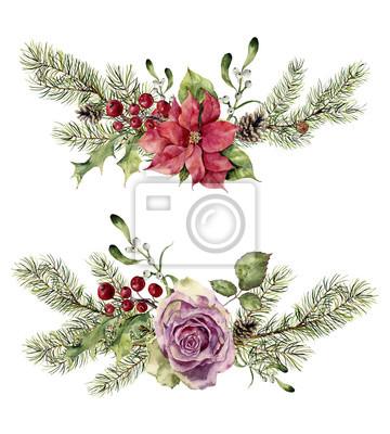 Akwarela zimowych elementy kwiatu samodzielnie na białym tle. Vintage style zestaw z gałęzi choinki, róża, ostrokrzew, jemioła, poinsecja kwiat, liść. Kwiat ręcznie malowany wzór