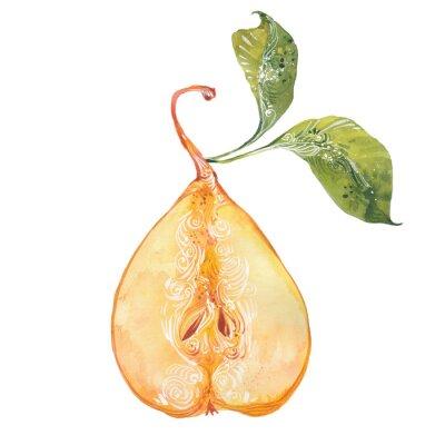 Naklejka akwarela żółte gruszki