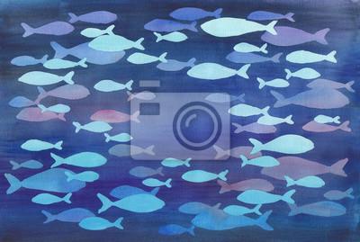 Akwarele ilustracji abstrakcyjnych ryby w kowadłem.
