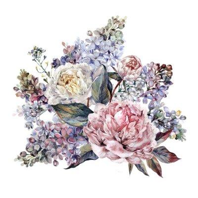 Naklejka Akwarele Peonies i Lilac Bouquet