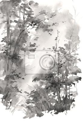 Akwarele ręcznie malowane abstrakcyjny krajobraz, drzewa w słońcu. Ilustracja głębokim lesie w odcieniach szarości.