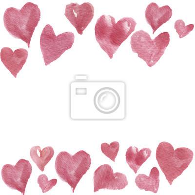 Akwarele ręcznie rysowane ramki z sercami dla projektu. Artystyczne pojedyncze ilustracji.