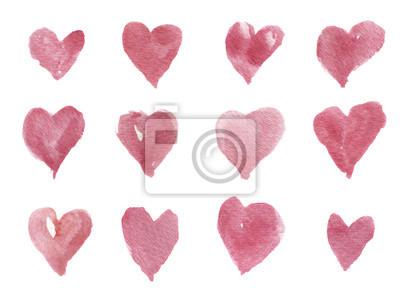 Akwarele ręcznie rysowane serca do projektowania, tła i tekstyliów. Artystyczne pojedyncze ilustracji.