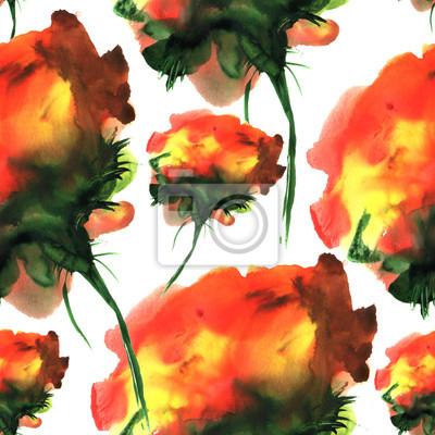 Akwarele ręcznie rysowane wzór z kwiatów fantazji. Do projektowania, tła i tekstyliów.