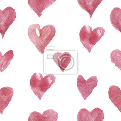 Akwarele ręcznie rysowane wzór z serca. Do projektowania, tła i tekstyliów.
