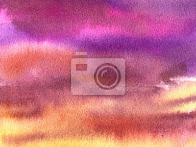 Akwarele tła: purpurowe niebo z chmurami.