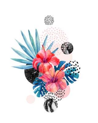 Naklejka Akwarele tropikalnych kwiatów na tle geometrycznych z marbling, tekstury doodle