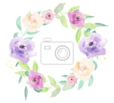 Akwarele wieńce kwiatowe