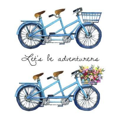 Naklejka Akwareli ilustracja tandemowi bicykle