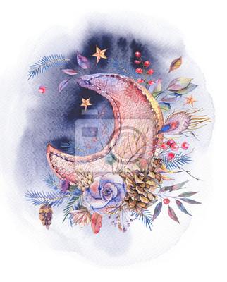 Akwareli kartka z pozdrowieniami z księżyc i różami