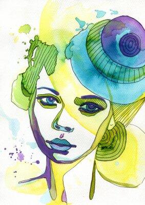 Naklejka Akwarelowy portret Kobiety