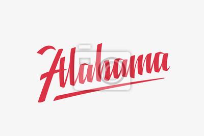 Alabama USA Słowo Państwowe Logo Ręcznie malowane Szczotka Szablon Logo Kaligrafii