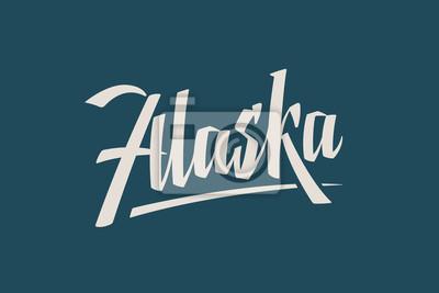 Alaska Stan USA Słowo Państwowe Ręcznie malowane Szczotka Szablon Logo Kaligrafii Szablon