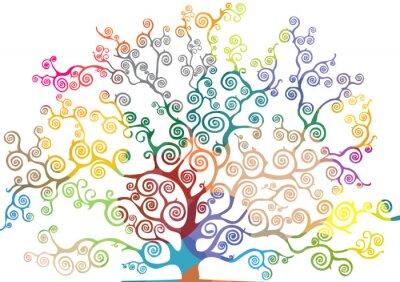 Naklejka albero con rami curvi e colorati