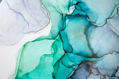 Naklejka Alcohol ink sea texture. Contemporary art. Spots of oil paint. Abstract art background. Multicolored bright texture. Fragment of artwork. Modern art. Inspired by the sky, as well as steam and smoke.
