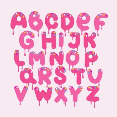 Alfabet angielski wektor, projekt typografii. Tło z zestawem ozdobnych liter łacińskich. Plakat z kolorowym latynoskim abc wykonany w uroczym stylu. Ręcznie rysowane czcionki. Różne litery komiksowe