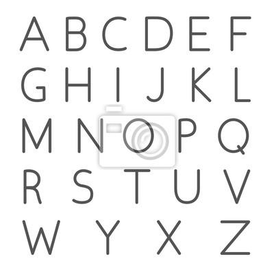 alfabet, cienka konstrukcja linii. liniowa kolekcja listów. Angielskiego alfabetu, odizolowane ilustracji wektorowych