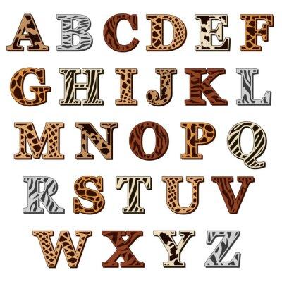 Naklejka Alfabet łaciński z nadrukiem zwierząt