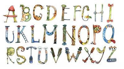 Naklejka alfabet, litera, akwarela