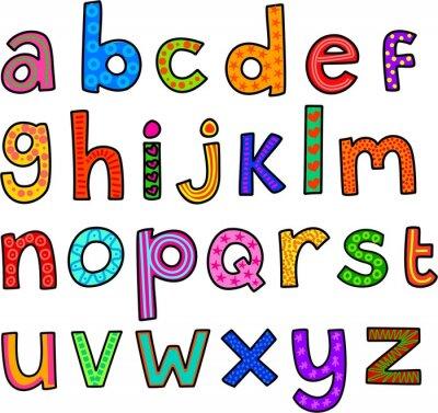 Naklejka Alfabet małe litery na wesoło
