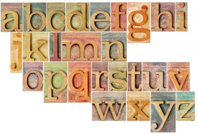 Naklejka alfabet w rodzaju drewna typografii