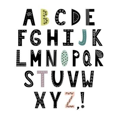 Naklejka Alfabet w stylu skandynawskim. Ręcznie rysowane litery, stylowe abc. Ilustracji wektorowych