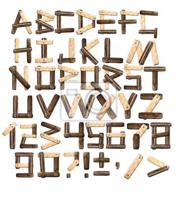 Naklejka Alfabet z desek i kory