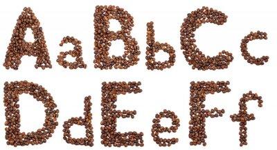 Naklejka alfabet z ziaren kawy izolowane