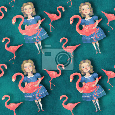 Alicja z flamingami, Alice in wonderland, seamless backgound