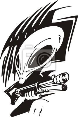Alien z pistoletu.