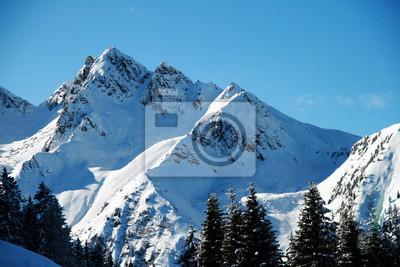 Alpejskie szczyty pokryte świeżym śniegiem spadł