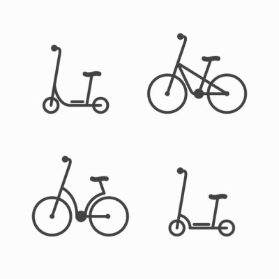 Alternative city transport icons. Electric scooter and bicycle. Modern eco friendly vehicles set