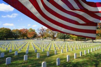 Naklejka American Flag By National Cemetery Against Sky