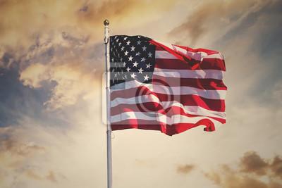 Naklejka american flag waving in the sky, toned wth instagram filter