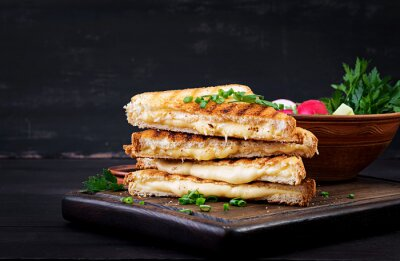 Naklejka American hot cheese sandwich. Homemade grilled cheese sandwich for breakfast.