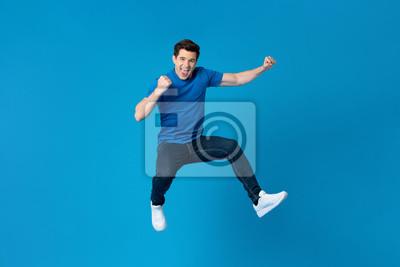 Naklejka American man jumping and enyoying his success