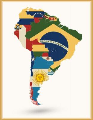 Naklejka Ameryka Południowa mapa z flagami i kolorów vintage