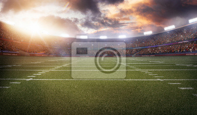 Naklejka Amerykański stadion piłkarski 3D w świetle ramy renderowania