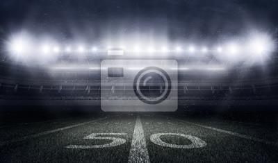 Naklejka Amerykański stadion piłkarski w światłach i miga