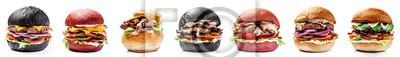 Naklejka Amerykańskie burgery z czarnego, czerwonego chleba. Z pasztecikiem mięsnym, serem cheddar, sałatą, pomidorem i sous, burgerami na białym tle. Wegański burger z awokado. Izoluje obraz dla menu.