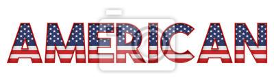 Naklejka Amerykańskie gwiazdy i paski flaga słowo czcionki. Renderowanie 3D