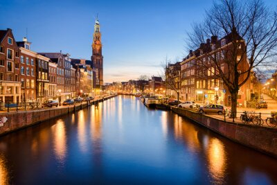 Naklejka Amsterdam nocą, Holandia