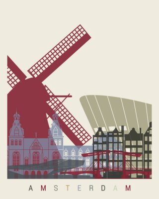 Naklejka Amsterdam Skyline Plakat