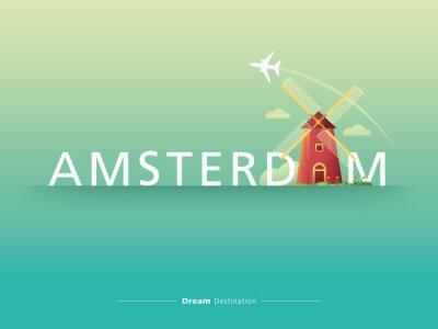 Naklejka Amsterdam typografia