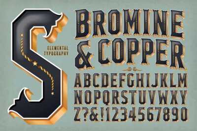 Naklejka An Ornate Retro-Styled Alphabet with 3d golden metallic effects