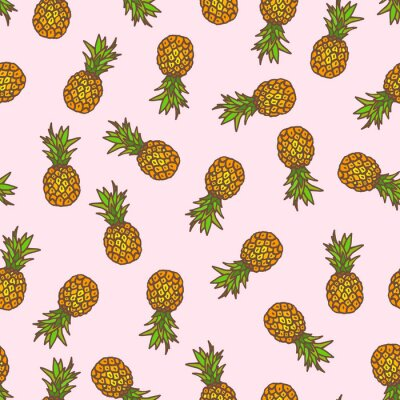 Naklejka Ananas bezszwowe tło.