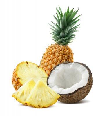 Naklejka Ananas kawałki kokosa Kompozycja 4 wyizolowanych na białym backgro