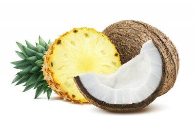 Naklejka Ananas kawałki kokosa Skład 1 odizolowane na białym backgro