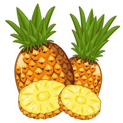 Naklejka Ananas samodzielnie na białym tle.
